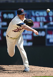 May 2, 2018 - Minneapolis, MN, U.S. - MINNEAPOLIS, MN - MAY 02: Minnesota Twins Pitcher Trevor Hildenberger (39) delivers a pitch during a MLB game between the Minnesota Twins and Toronto Blue Jays on May 2, 2018 at Target Field in Minneapolis, MN.(The Twins defeated the Blue Jays 4-0.(Photo by Nick Wosika/Icon Sportswire) (Credit Image: © Nick Wosika/Icon SMI via ZUMA Press)