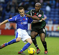 Photo: Pete Lorence.<br />Leicester City v Plymouth Argyle. Coca Cola Championship. 11/11/2006.<br />Alan Maybury and Barry Hayles battle for the ball.