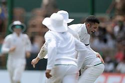 July 19, 2018 - Colombo, Sri Lanka - South African cricketer Keshav Maharaj is lifted by Kagiso Rabada during the first day of the 2nd test cricket match between Sri Lanka and South Africa at SSC International Cricket ground, Colombo, Sri Lanka on Friday 20 July 2018  (Credit Image: © Tharaka Basnayaka/NurPhoto via ZUMA Press)