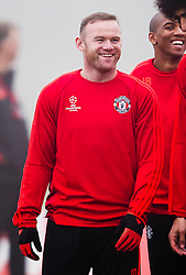 Wayne Rooney of Manchester United is all smiles during the warm up - Mandatory byline: Matt McNulty/JMP - 07966386802 - 02/11/2015 - FOOTBALL - Aon Training Complex -Manchester,England - UEFA Champions League