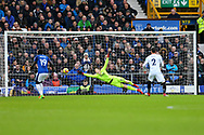 Crystal Palace Goalkeeper Wayne Hennessey is unable to get near the ball but it goes wide of the goal. Premier league match, Everton v Crystal Palace at Goodison Park in Liverpool, Merseyside on Saturday 10th February 2018. pic by Chris Stading, Andrew Orchard sports photography.