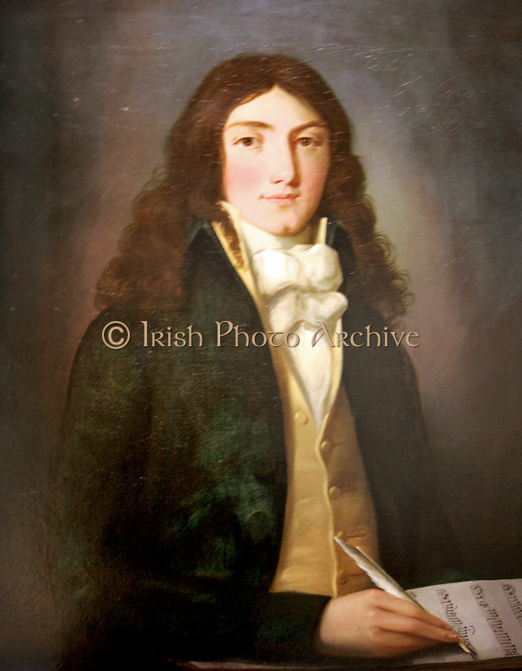 Louis (Ludwig) Spohr (1784-1859). Oil on Canvas, artist unknown. Spohr was a German composer, violinist and conductor, with an innovative streak. He was one of the pioneers of conducting with a baton and also invented the violin chinrest. Despite a prolific output, he fell into relative obscurity after his death. In this portrait Spohr is shown penning what appears to be the music for 'God save the King' In his late teens Spohr was sponsored by the Duke of Brunswick and the same melody was used by Brunswick for its own national anthem 'Heil unserm Herzof, Heil!' The Duke was married to Augusta, sister of George III.