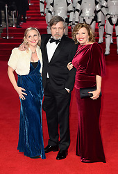 Chelsea Hamill (left) Mark Hamill and Marilou York (right) attending the european premiere of Star Wars: The Last Jedi held at The Royal Albert Hall, London.