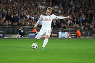 Tottenham Hostpur midfielder Christian Eriksen (23) crossing the ball during the Champions League match between Tottenham Hotspur and Bayer Leverkusen at Wembley Stadium, London, England on 2 November 2016. Photo by Matthew Redman.