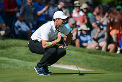 August 9, 2018 - Town And Country, Missouri, U.S - RORY MCILROY from Northern Ireland lines up his putt on the 14th green during round one of the 100th PGA Championship on Thursday, August 8, 2018, held at Bellerive Country Club in Town and Country, MO (Photo credit Richard Ulreich / ZUMA Press) (Credit Image: © Richard Ulreich via ZUMA Wire)