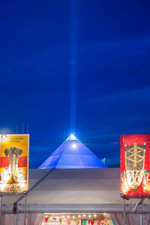 The Pyramid Stage. The 2015 Glastonbury Festival, Worthy Farm, Glastonbury.
