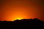 Sunset over Beiyue Hengshan Mountain, Datong, Hunyuan County, Shanxi Province, China