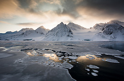 Fuglefjorden in March at the northern tip of Spitsbergen, Svalbard, Norway