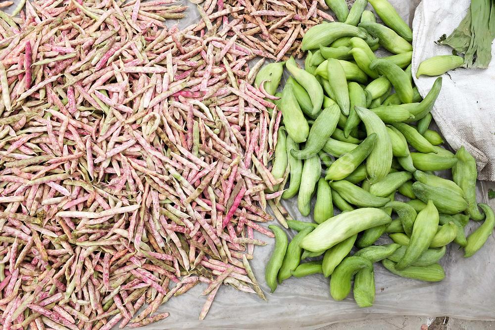 Beans and 'ola chayto' for sale at Wangdue Phodrang local produce market, Bhutan.