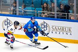 Hyunsoo Kim of South Korea and Yegor Petukhov of Kazakhstan during ice hockey match between South Korea and Kazakhstan at IIHF World Championship DIV. I Group A Kazakhstan 2019, on May 2, 2019 in Barys Arena, Nur-Sultan, Kazakhstan. Photo by Matic Klansek Velej / Sportida