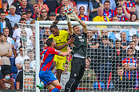 Football - 2021/2022  Premier League - Crystal Palace vs Brentford - Selhurst Park  - Saturday 21st August 2021.<br /> <br /> Vicente Guaita (Crystal Palace) at full stretch to take the ball away from Ivan Toney (Brentford FC) at Selhurst Park.<br /> <br /> COLORSPORT/DANIEL BEARHAM
