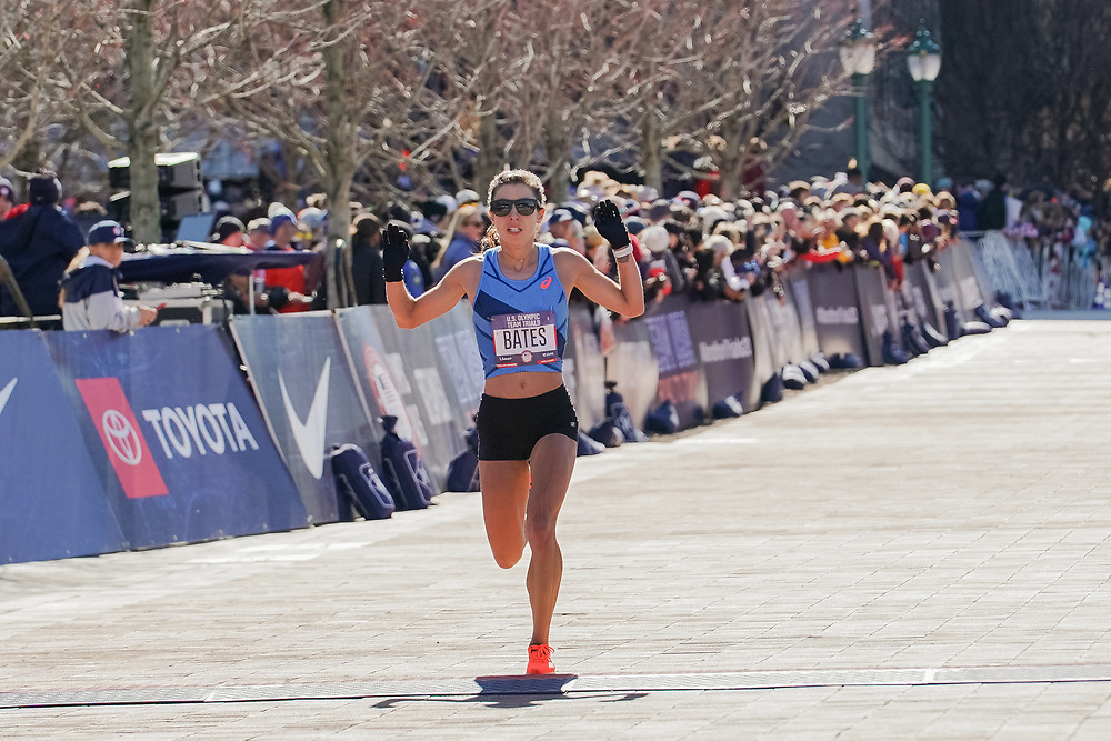 Emma Bates finishes seventh in the 2020 U.S. Olympic marathon trials in Atlanta on Saturday, Feb. 20, 2020. Photo by Kevin D. Liles for The New York Times