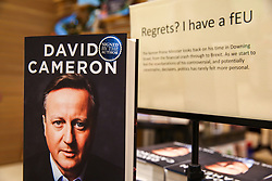 "© Licensed to London News Pictures. 19/09/2019. London, UK. Signed copies of ""For The Record"" - the autobiography of Britain's former Prime Minister David Cameron on display in Waterstones book store in central London. Since his resignation in 2016, David Cameron has remained all-but silent on his time in office. In ""For the Record"" he finally breaks that silence. Photo credit: Dinendra Haria/LNP"