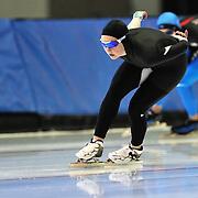 September 18, 2010 - Kearns, Utah - Briana Kramer and races in long track speedskating time-trials held at the Utah Olympic Oval.