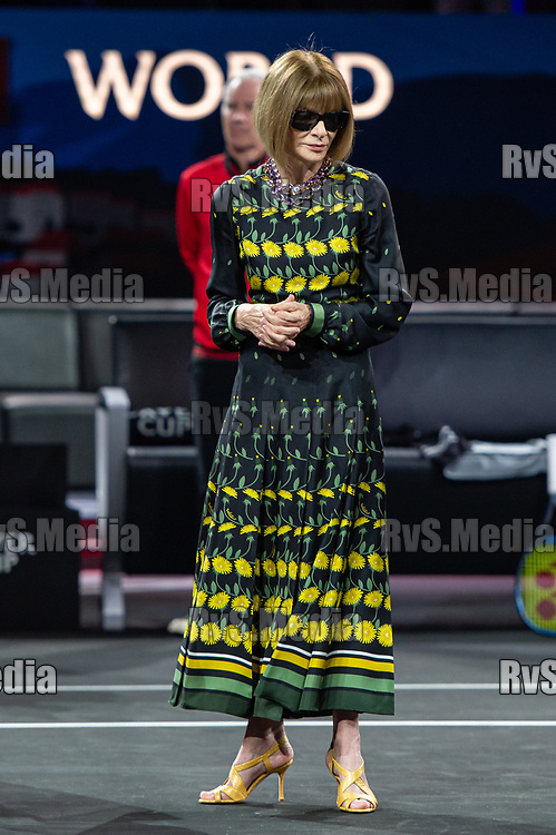 GENEVA, SWITZERLAND - SEPTEMBER 21:  Anna Wintour, Editor-in-chief of Vogue and Artistic Director of Conde Nast during Day 2 of the Laver Cup 2019 at Palexpo on September 21, 2019 in Geneva, Switzerland. The Laver Cup will see six players from the rest of the World competing against their counterparts from Europe. Team World is captained by John McEnroe and Team Europe is captained by Bjorn Borg. The tournament runs from September 20-22. (Photo by Monika Majer/RvS.Media)