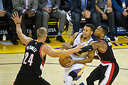 Golden State Warriors guard Stephen Curry (30) takes the ball to the basket against the Portland Trail Blazers at Oracle Arena in Oakland, Calif., on October 21, 2016. (Stan Olszewski/Special to S.F. Examiner)