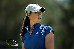 May 25, 2018 - Surrey, Michigan, United Kingdom - Laetitia Beck of Israel tees off on the first tee during the second round of the LPGA Volvik Championship at Travis Pointe Country Club, Ann Arbor, MI, USA Friday, May 25, 2018. (Credit Image: © Jorge Lemus/NurPhoto via ZUMA Press)