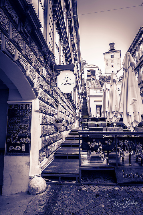 Cafe and funicular in old town Gradec, Zagreb, Croatia