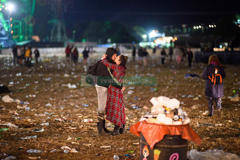 Atmosphere at the pyramid stage after dark during the Glastonbury Festival at Worthy Farm in Pilton, Somerset. Picture date: Sunday June 25th, 2017. Photo credit should read: Matt Crossick/ EMPICS Entertainment.
