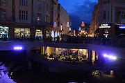 Streets illuminated at night, city centre of Plovdiv, Bulgaria