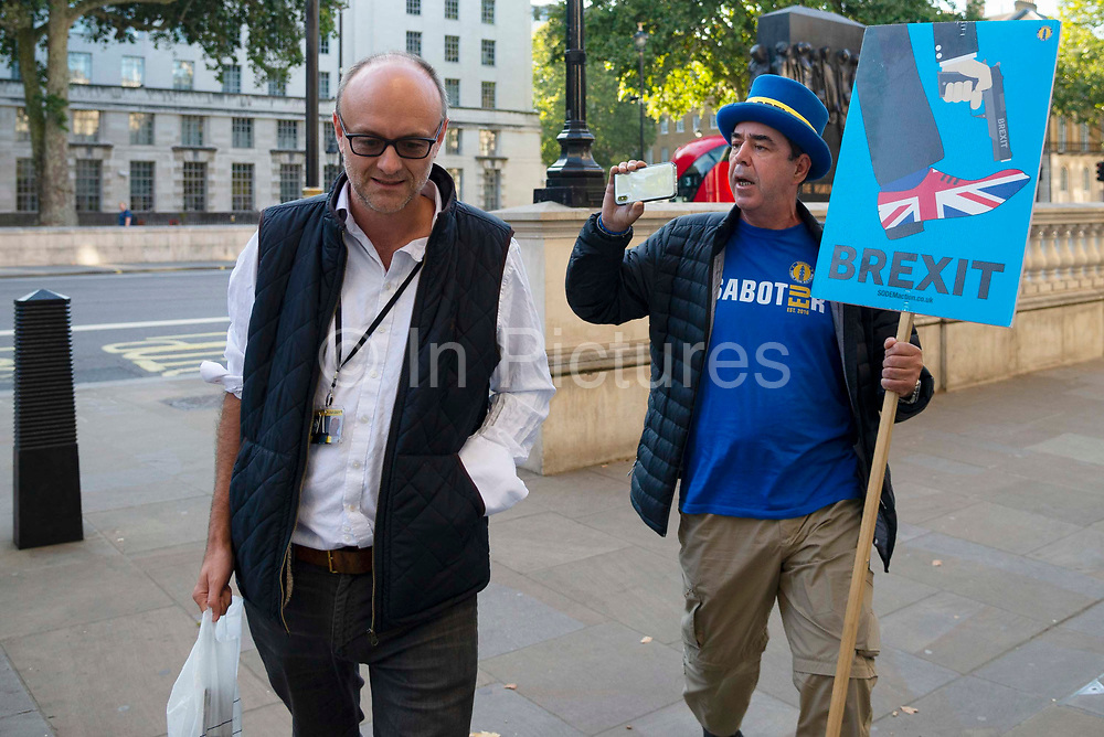 Pro remain campaigner Steve Bray interviews Dominic Cummings as he arrives at the Cabinet office in London,United Kingdom on 22nd August 2019.