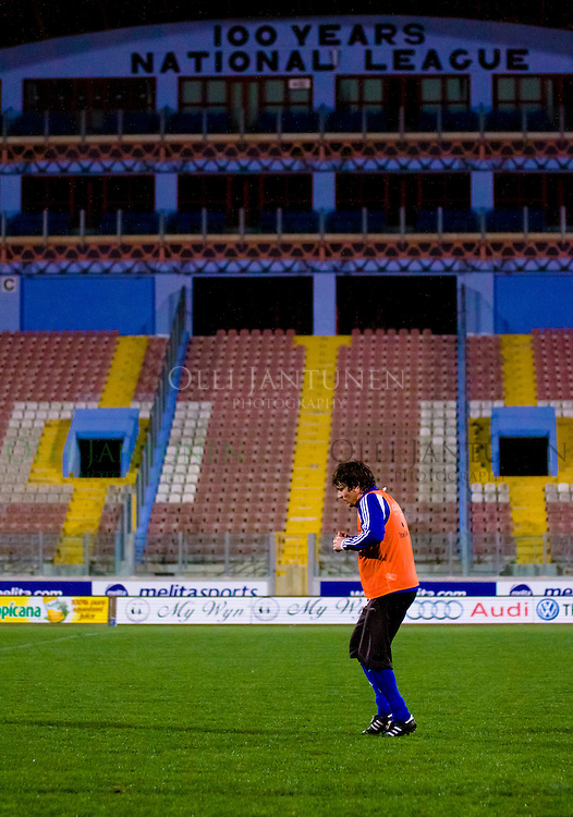 Jari Litmanen of Finland, alone, cooling down after the final training session before wednesday's match against Malta. At Ta'Qali National Stadium on March 2, 2010 in Ta'Qali, Malta