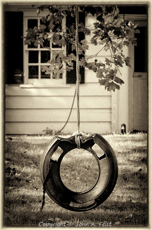 Remember the good old days when toys were fun and the grass was the only protective surface we needed?  This tire swing is a throw back to those days