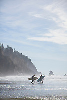 Surfers at Oswald West State Park, OR.