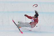 Canada's Yuki Tsubota fall on her last jump of the ladies' ski slopestyle final at the Sochi 2014 Winter Olympics on February 11, 2014 in Krasnaya Polyana, Russia. Tsubota was taken off the course on a stretcher.  (UPI)
