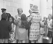 President Childers Inaugerated     (F26)..1973..25.06.1973..06.25.1973..25th June 1973..After his inaugeration President Childers returned to take up residence in Áras an Uachtaráin,Phoenix Park, Dublin..An informal picture of President and Mrs Childers being mobbed by their happy grandchildren as other family members join in.