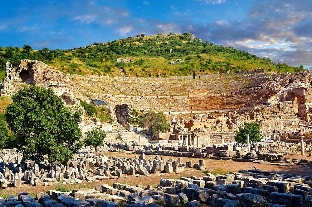The Theatre of Ephesus on the slopes of Panayir Dagi ( mount) was built during the reign of Alexander the Great successor, Lysimachos, between 306 - 281 B.C. The building was altered many times by the time St Paul was famously found guilty of preaching against Artemis & Diana and banished from the city after a 3 year stay.  Ephesus Archaeological Site, Anatolia, Turkey. .<br /> <br /> If you prefer to buy from our ALAMY PHOTO LIBRARY  Collection visit : https://www.alamy.com/portfolio/paul-williams-funkystock/ephesus-celsus-library-turkey.html<br /> <br /> Visit our TURKEY PHOTO COLLECTIONS for more photos to download or buy as wall art prints https://funkystock.photoshelter.com/gallery-collection/3f-Pictures-of-Turkey-Turkey-Photos-Images-Fotos/C0000U.hJWkZxAbg