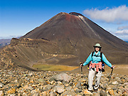 """Mount Ngauruhoe (2291 metres or 7516 feet elevation) last erupted in 1975 in Tongariro National Park, North Island, New Zealand. In 1990 and 1993, UNESCO honored Tongariro National Park as a World Heritage Area and Cultural Landscape. Tongariro National Park served as a location for fictional Mordor and Mount Doom in the """"Lord of the rings"""" Motion Pictures. For licensing options, please inquire."""