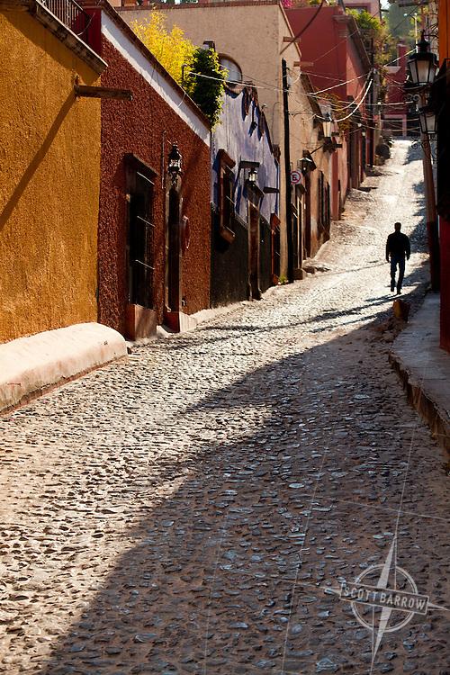 Sunlit street in San Miguel de Allende; Mexico