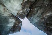 Detail of an ice arch on the surface of Tellbreen, Svalbard.