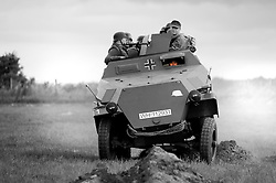 Panzer Grenadiers in a Sd.Kfz. 251 Auf C Hanomag of the Großdeutschland Panzer Grenadier Division at the Spam wartime Heckmonwyke Wakefield  weekend  NWW2A <br /> 10 July 2010 <br /> Image © Paul David Drabble.