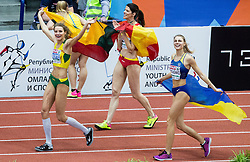 Winner Airinė Palšytė of Lithuania, second placed Ruth Beitia of Spain and third placed Yuliya Levchenko of Ukraine celebrate after  the High Jump Women Final on day two of the 2017 European Athletics Indoor Championships at the Kombank Arena on March 4, 2017 in Belgrade, Serbia. Photo by Vid Ponikvar / Sportida