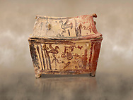 Minoan  pottery gabled larnax coffin chest with birds and marine animals,  Anthanatoi 1370-1250 BC, Heraklion Archaeological  Museum. .<br /> <br /> If you prefer to buy from our ALAMY PHOTO LIBRARY  Collection visit : https://www.alamy.com/portfolio/paul-williams-funkystock/minoan-art-artefacts.html . Type -   Heraklion   - into the LOWER SEARCH WITHIN GALLERY box. Refine search by adding background colour, place, museum etc<br /> <br /> Visit our MINOAN ART PHOTO COLLECTIONS for more photos to download  as wall art prints https://funkystock.photoshelter.com/gallery-collection/Ancient-Minoans-Art-Artefacts-Antiquities-Historic-Places-Pictures-Images-of/C0000ricT2SU_M9w