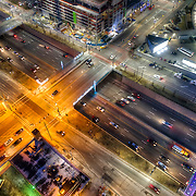 Aerial view of urban interstate highway, downtown Kansas City, Missouri