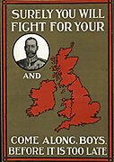 Wold war one Poster the British King George V and a slogan 'Surely you will fight for your (King, implied) and country (implied).This was a propaganda poster in England during the First World War. dated 1914-15