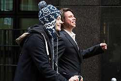 London - Alleged computer hacker Lauri Love leads a procession complete with mobile sound system to a press conference at his solicitors Chambers in London after he successfully challenged a ruling that he can be extradited to the US, following allegations that he hacked United States government websites. February 05 2018.