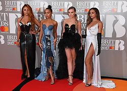Little Mix's Jesy Nelson, Leigh-Anne Pinnock, Perrie Edwards and Jade Thirlwall attending the BRIT Awards 2017, held at The O2 Arena, in London.<br /><br />Picture date Tuesday February 22, 2017. Picture credit should read Doug Peters/ EMPICS Entertainment. Editorial Use Only - No Merchandise.