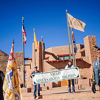 112614       Cable Hoover<br /> <br /> Juan Becenti, left, and Larry Anderson address supporters outside the Navajo Council Chambers in Window Rock Wednesday.