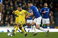 Chelsea midfielder Eden Hazard (10) holds off Everton defender Michael Keane (4) during the Premier League match between Everton and Chelsea at Goodison Park, Liverpool, England on 17 March 2019.
