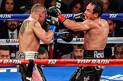 Inglewood, California/USA (Saturday, May 17 2014) -  Boxer Juan Manuel Marquez (56-7-1, 40 KO) defeated Mike Alvarado (34-3-0, 23 KO) via unanimous decision on Saturday night, at The Forum in Inglewood,CA USA. 17th May 2014. Fees must be agreed for image use. Byline, credit, TV usage, web usage or linkback must read: © SILVEXPHOTO.COM.