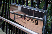 The sign to Price Waterhouse Coopers PWC, Plumtree court, London.