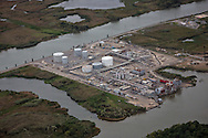 Aerial view of and oil and gas industry  faciltiy in Southern Louisiana where land loss due to coastal erosion is estimated to be more than the size of footaball field every hour.