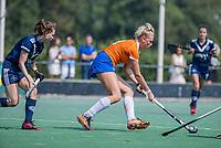 AMSTELVEEN - Ankelein Baardemans (Bldaal)  met Elsie Nix (Pinoke)  tijdens de oefenwedstrijd tussen de dames van Bloemendaal en Pinoke   ter voorbereiding van het hoofdklasse hockeyseizoen 2020-2021.  COPYRIGHT KOEN SUYK