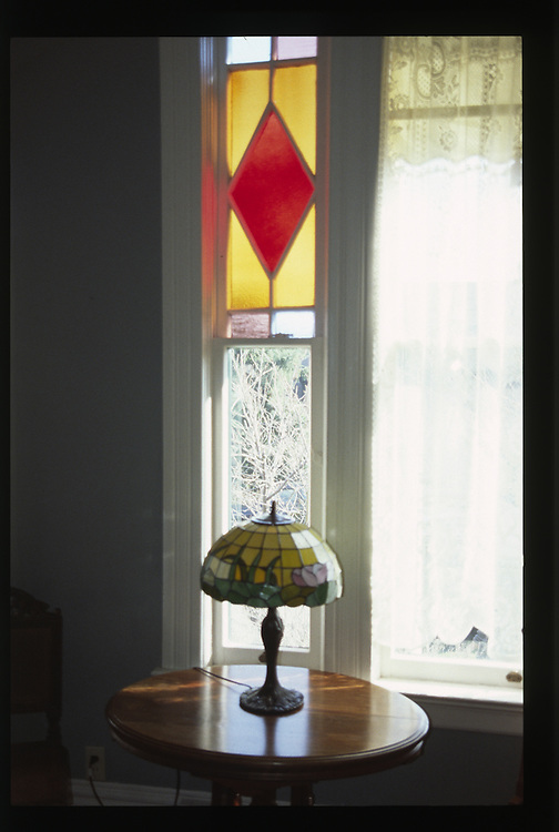 Stained Glass Window and Lamp at Ann Starrett Mansion, Port Townsend, Washington, US