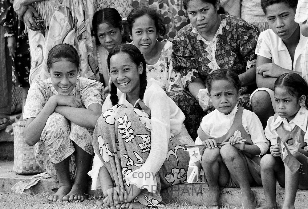 Native children at tribal gathering in Tonga, South Pacific