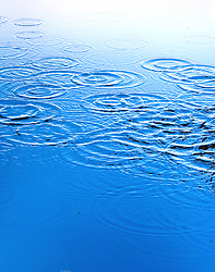 Blue Water with drops waves and rings